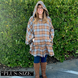 Hooded Poncho - Outlander Clan Fraser Inspired Tartan Hoodie