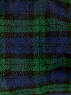 Clan Campbell - Black Watch Hunter Green, Royal Purple/Navy Blue, and Black Cotton Flannel Plaid Infinity Scarf Tartan Wrap Gator