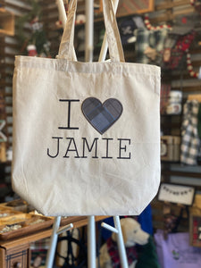 Outlander I Love Jamie Machine Embroidered Plaid Heart Applique Heavy Canvas Tote Bag Gusseted Grocery Sack