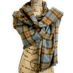 Wrap Size Scarf - Outlander Clan Fraser Inspired Gray, Brown, Yellow, and Red Cotton Flannel