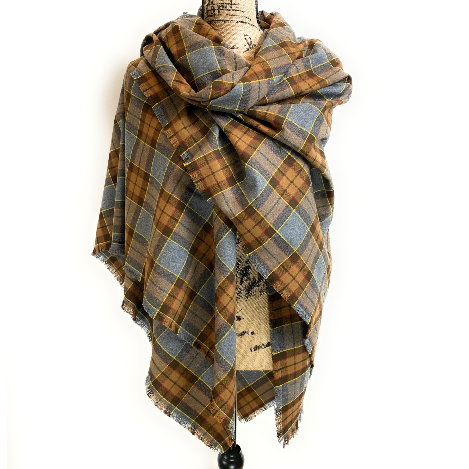 Oversized Blanket Scarf/Earasaid - Outlander Clan Fraser Inspired Gray, Brown, Yellow, and Red Cotton Flannel
