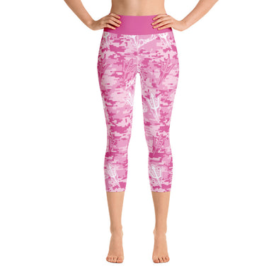Pink Digital Camo Yoga Capri Leggings