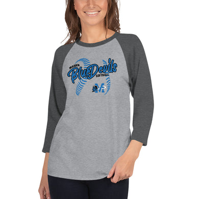 Blue Devils Softball 3/4 Sleeve Raglan Shirt