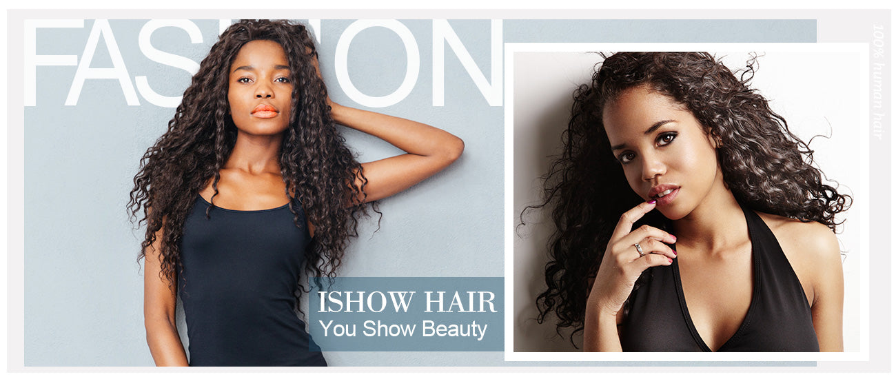 ishow hair deep wave human hair lace front wigs