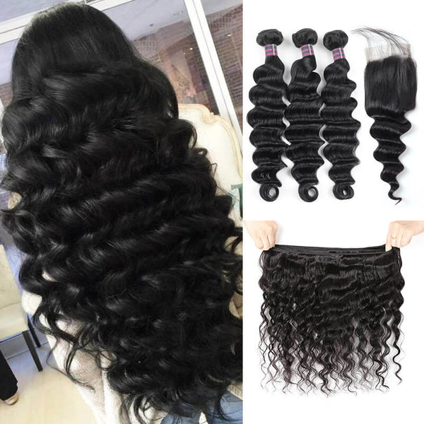 Ishow Virgin Brazilian Hair Loose Deep Wave Hair 3 Bundles With 4*4 Lace Closure