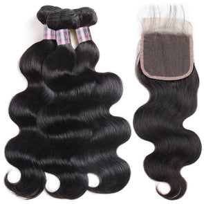 Peruvian Body Wave Lace Closure With 3 Bundles Ishow Virgin Remy Human Hair Bundles And Baby Hair Natural Color Weave - IshowVirginHair