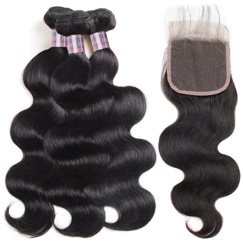 Virgin Peruvian Body Wave Hair 3 Bundles With 4*4 Lace Closure Ishow Virgin Remy Human Hair