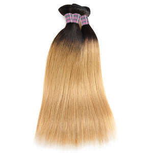 Ishow Ombre 100% Virgin Remy Human Hair Straight 3 Bundles With 4x4 Lace Closure - IshowVirginHair