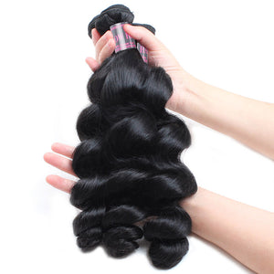 Indian Loose Wave 3 Bundles With 4*4 Lace Closure Deals