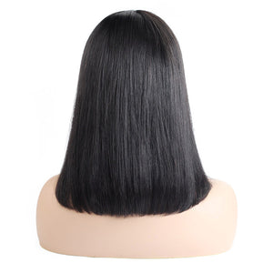 Ishow Straight Short Bob Wigs Malaysian Human Hair Middle Part Lace Closure Wig