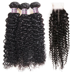 Brazilian Curly Wave 100% Human Hair Bundles With 2*4 Closure Swiss Lace