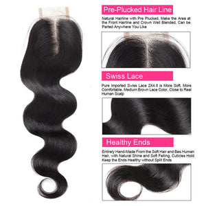 Body Wave Hair Bundles With Baby Hair Ishow 3 Bundles Hair Weave With 2X4 Lace Closure - IshowVirginHair