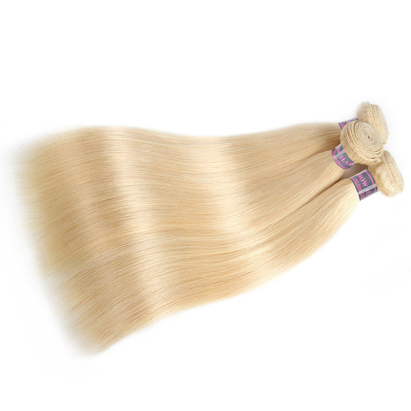 Straight Hair 613# Blonde Hair Bundles With Lace Closure - IshowVirginHair
