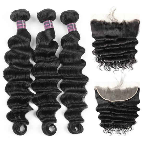 Brazilian Loose Deep Wave 3 Bundles With 13*4 Ear To Ear Lace Frontal Closure Ishow Hair