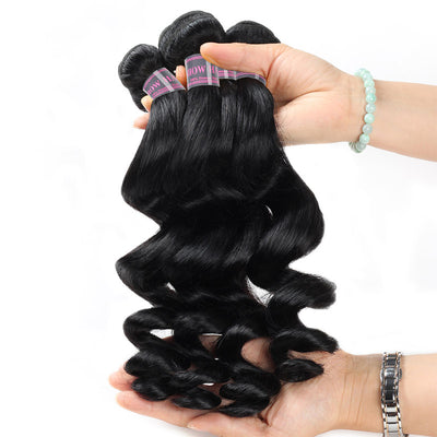 Malaysian Loose Wave Ishow 4 Bundles Human Hair Extensions Full Head Remy Virgin Hair Weave Natural Color Hair Bundles - IshowVirginHair
