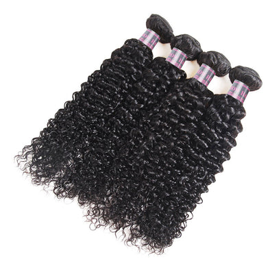 Peruvian Curly Wave Human Hair 4 Bundles Ishow Hair Bundles Weave Natural Color Virgin Remy Human Hair Extensions
