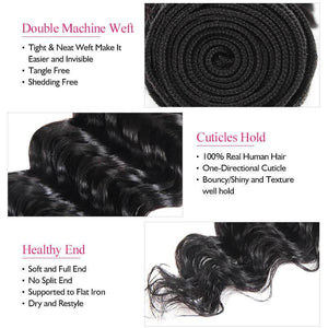 Ishow Virgin Brazilian Hair Deep Wave Human Hair Weave 3 Bundles Natural Color