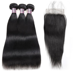 Straight Ishow 100% Remy Virgin Human Hair Bundles Free Part 3 Bundles With 4x4 Lace Closure Natural Color Hair Extensions