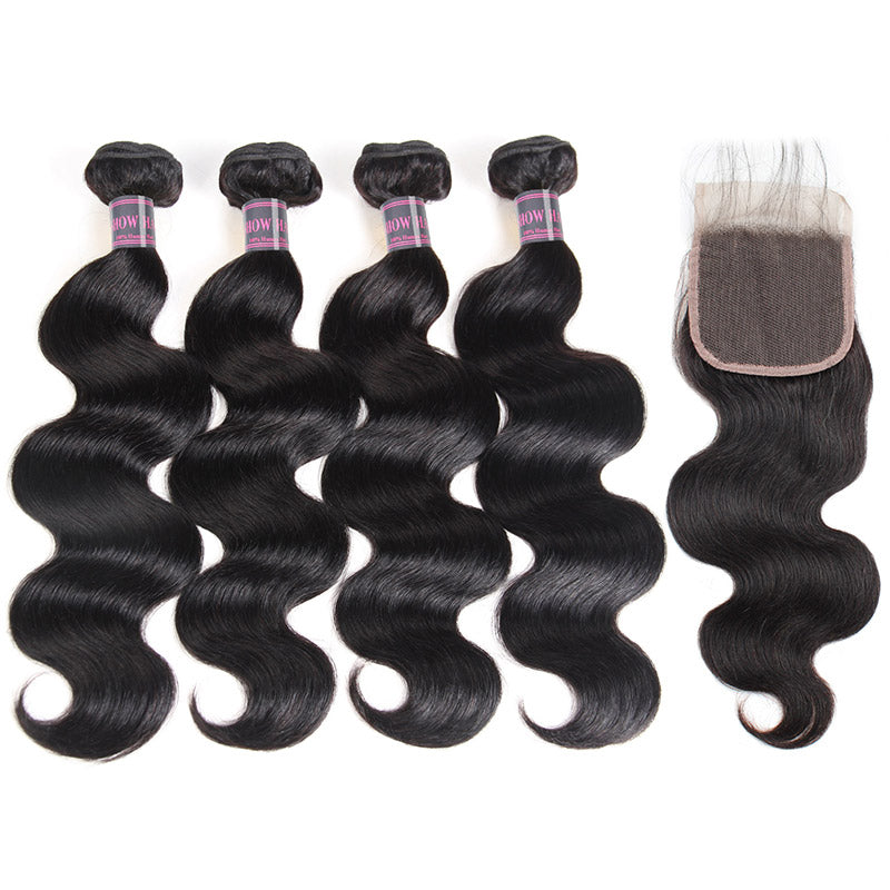 Ishow Brazilian Hair 8A Virgin Human Hair Body Wave 4 Bundles With Lace Closure