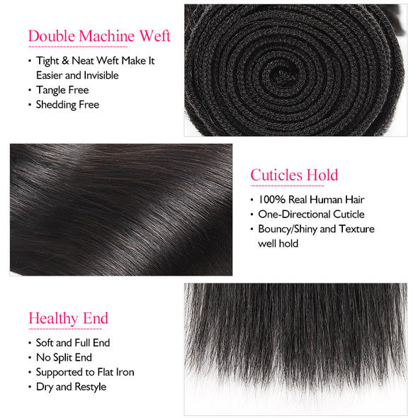 Brazilian Ishow Straight Hair Weave 4 Bundles Deal 8-28 Inches Double Weft 100% Virgin Remy Human Hair Extensions - IshowVirginHair