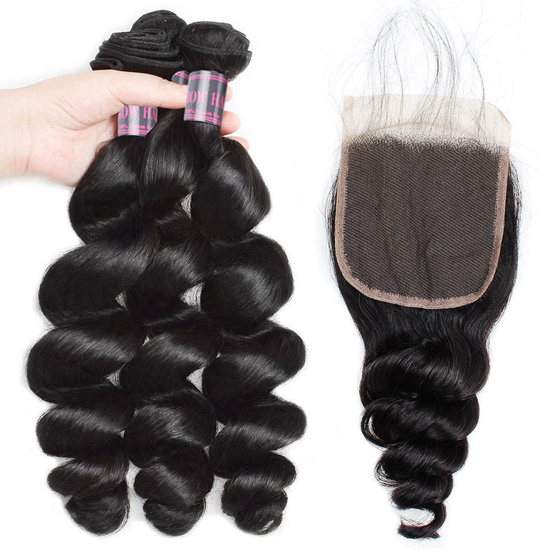 Virgin Brazilian Loose Wave Hair 3 Bundles with 4*4 Lace Closure Ishow Hair