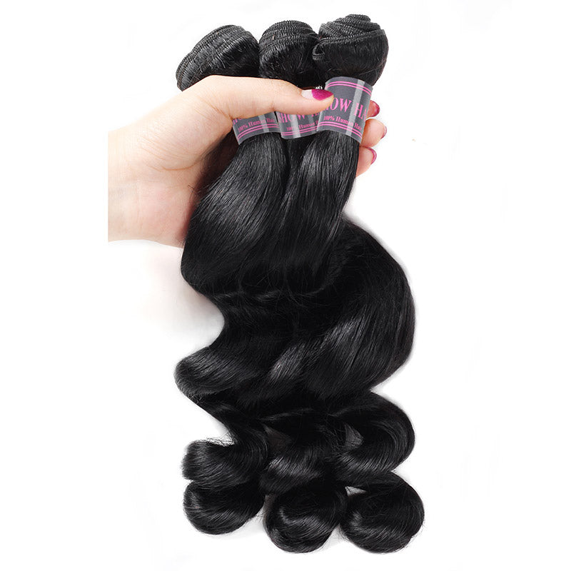 Malaysian Loose Wave Human Hair Bundles With Baby Hair Swiss Lace 100% Remy Human Hair 3 Bundles With Lace Closure - IshowVirginHair