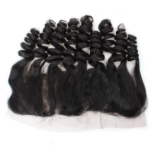 Indian Remy Human Hair Bundles Ishow Hair Weave Loose Wave 4 Bundles With 13x4 Ear To Ear Lace Frontal Closure - IshowVirginHair