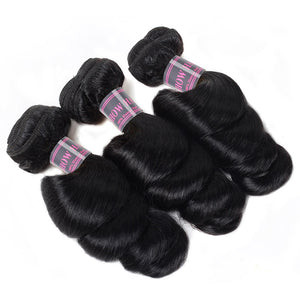 Malaysian Loose Wave Hair Extensions 3 Bundles With 360 Lace Frontal With Baby Hair Ishow 100% Remy Human Hair Weft - IshowVirginHair