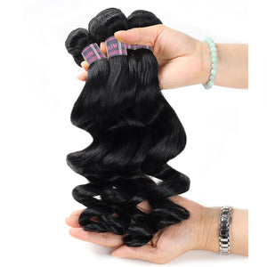 Malaysian Loose Wave Hair Extensions 4 Bundles With Closure Baby Hair Swiss Lace 100% Remy Virgin Human Hair Bundles - IshowVirginHair