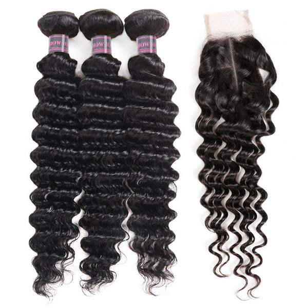 Ishow Hair Brazilian Deep Wave Remy Human Hair 2X4 Lace Closure With 3 Bundles Human Hair Weave - IshowVirginHair