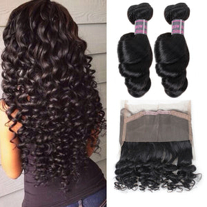 Loose Wave 100% Virgin Remy Human Hair Extensions 2 Bundles With 360 Lace Frontal Ishow Hair Bundles Weave - IshowVirginHair