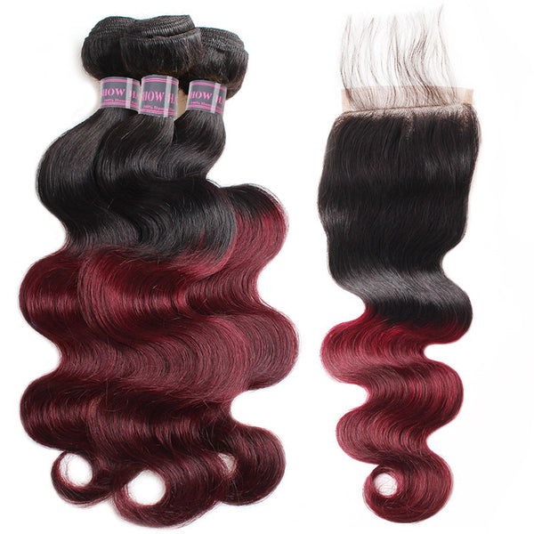 Ishow Virgin Remy Hair Weave 3 Bundles With 4x4 Lace Closure Ombre Body Wave - IshowVirginHair