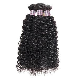 Ishow Hair Virgin Indian Curly Human Hair Weave 3 Bundles