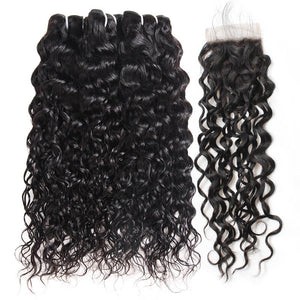 Indian Ishow Hair Bundles Water Wave Hair Weave 3 Bundles With Lace Closure Virgin Remy Human Hair Extensions Baby Hair - IshowVirginHair