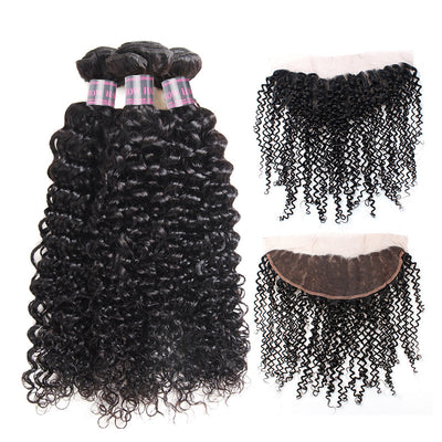 Indian Remy Human Hair Bundles Ishow Curly Wave Hair Weave 3 Bundles With Lace Frontal With Baby Hair Natural Color - IshowVirginHair