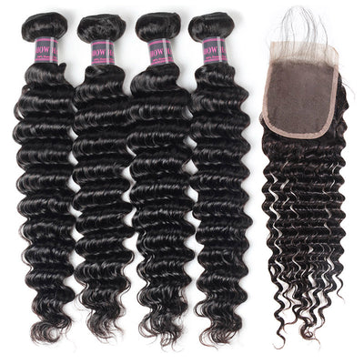 Virgin Indian Hair Deep Wave 4 Bundles With 4*4 Lace Closure