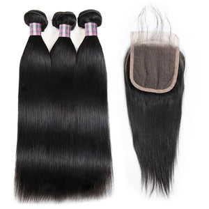 Indian Straight Hair Weave Ishow Remy Virgin Human Hair 3 Bundles with Lace Closure Free Middle Three Part With Baby Hair - IshowVirginHair