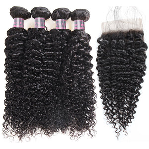 Ishow Hair Brazilian Curly Hair Weave 4 Bundles With 4*4 Lace Closure