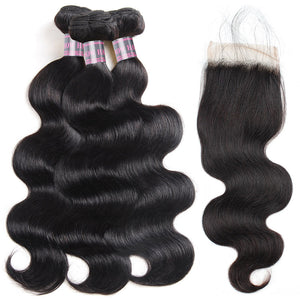 Ishow Hair Body Wave Hair 3 Bundles With Lace Closure Virgin Indian Human Hair