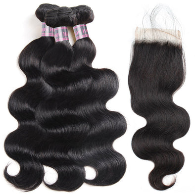 Indian Body Wave Hair Extensions 3 Bundles With Lace Closure 100% Remy Human Hair Weave Ishow Lace Closure With Baby Hair - IshowVirginHair
