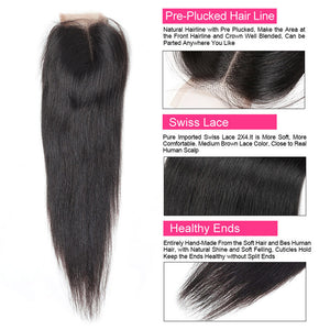 Brazilian Straight Hair Weave Ishow Remy Virgin Human Hair 3 Bundles with 2*4 Lace Closure - IshowVirginHair
