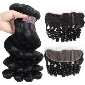 Malaysian Loose Wave 4 Bundles Human Hair Weave With Ear to Ear Lace Frontal Ishow 100% Virgin Remy Human Hair Extensions