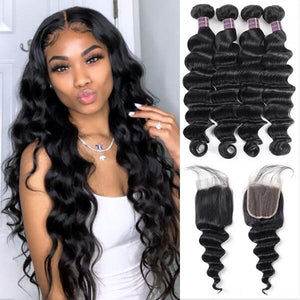 Virgin Brazilian Hair Loose Deep Wave 4 Bundles With Lace Closure Ishow Hair