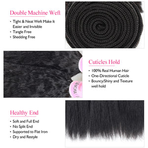 Peruvian Yaki Straight Human Hair Weave Bundles Ishow 4 Bundles Deal 100% Virgin Remy Human Hair Extensions - IshowVirginHair