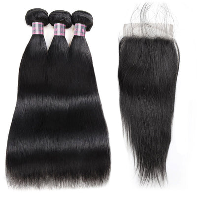 3 Bundles With Lace Closure Peruvian Straight 100% Remy Virgin Human Hair Weave Bundles - IshowVirginHair
