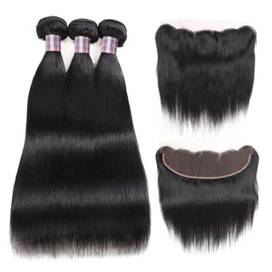 Peruvian Straight Remy Human Hair Weave Lace Frontal With 3 Bundles Natural Black Hair Bundles Free Shipping - IshowVirginHair