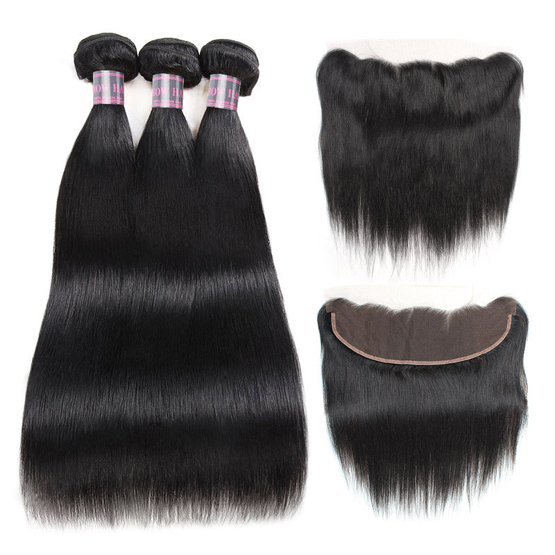 Peruvian Straight Remy Human Hair Weave Lace Frontal With 3 Bundles Natural Black Hair Bundles Free Shipping