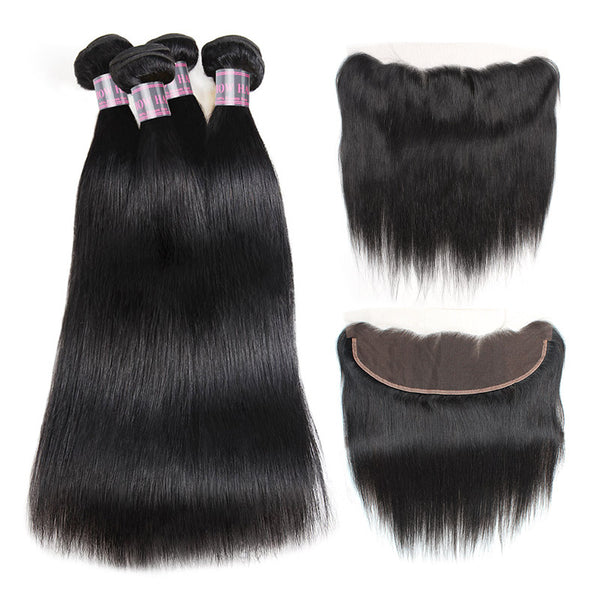 Peruvian Straight Hair Weave 4 Bundles With Ear to Ear Lace Frontal Closure 100% Remy Virgin Human Hair Bundles - IshowVirginHair