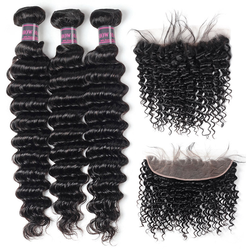 Ishow Virgin Peruvian Deep Wave Hair Weave 3 Bundles With Lace Frontal Closure
