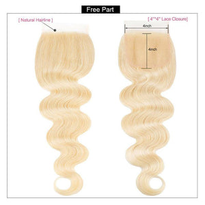 Remy Hair Body Wave 3 Bundles With Lace Closure 613 Blonde Hair - IshowVirginHair